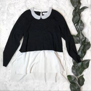 NWT ELLE Brilliant Baubles Black & White Blouse